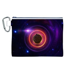 The Little Astronaut on a Tiny Fractal Planet Canvas Cosmetic Bag (L)