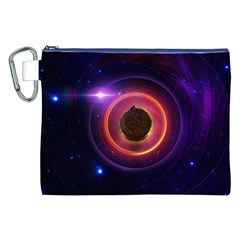 The Little Astronaut on a Tiny Fractal Planet Canvas Cosmetic Bag (XXL)