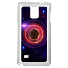 The Little Astronaut on a Tiny Fractal Planet Samsung Galaxy Note 4 Case (White)