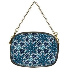 Boho Blue Fancy Tile Pattern Chain Purses (Two Sides)