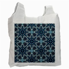 Boho Blue Fancy Tile Pattern Recycle Bag (One Side)