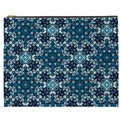 Boho Blue Fancy Tile Pattern Cosmetic Bag (XXXL)