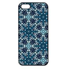 Boho Blue Fancy Tile Pattern Apple iPhone 5 Seamless Case (Black)