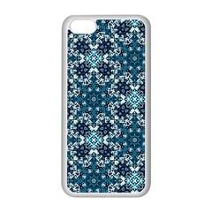 Boho Blue Fancy Tile Pattern Apple iPhone 5C Seamless Case (White)