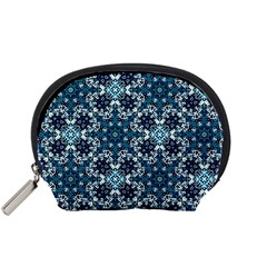 Boho Blue Fancy Tile Pattern Accessory Pouches (Small)