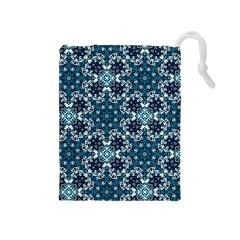 Boho Blue Fancy Tile Pattern Drawstring Pouches (Medium)