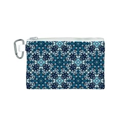 Boho Blue Fancy Tile Pattern Canvas Cosmetic Bag (S)