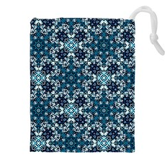 Boho Blue Fancy Tile Pattern Drawstring Pouches (xxl)