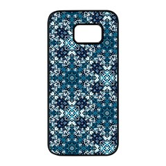 Boho Blue Fancy Tile Pattern Samsung Galaxy S7 Edge Black Seamless Case