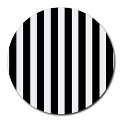 Classic Black and White Football Soccer Referee Stripes Round Mousepads