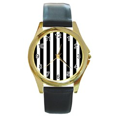Classic Black and White Football Soccer Referee Stripes Round Gold Metal Watch