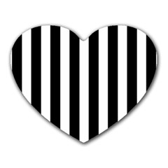 Classic Black and White Football Soccer Referee Stripes Heart Mousepads