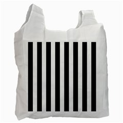 Classic Black and White Football Soccer Referee Stripes Recycle Bag (One Side)
