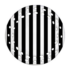 Classic Black and White Football Soccer Referee Stripes Round Filigree Ornament (Two Sides)