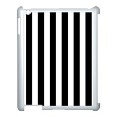 Classic Black and White Football Soccer Referee Stripes Apple iPad 3/4 Case (White)