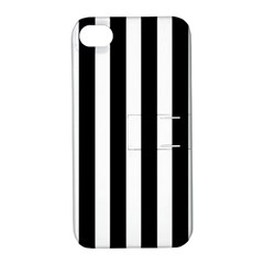 Classic Black and White Football Soccer Referee Stripes Apple iPhone 4/4S Hardshell Case with Stand