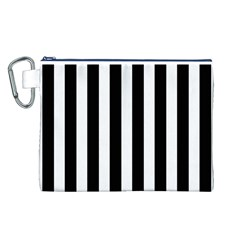 Classic Black and White Football Soccer Referee Stripes Canvas Cosmetic Bag (L)