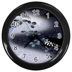 Abstract Black And Gray Tree Wall Clocks (Black)