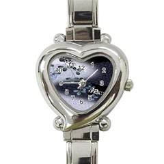 Abstract Black And Gray Tree Heart Italian Charm Watch