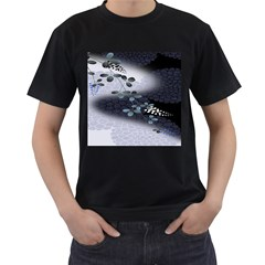 Abstract Black And Gray Tree Men s T Shirt (black) (two Sided)