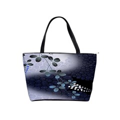 Abstract Black And Gray Tree Shoulder Handbags