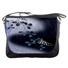 Abstract Black And Gray Tree Messenger Bags