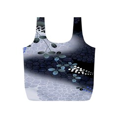 Abstract Black And Gray Tree Full Print Recycle Bags (S)