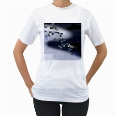 Abstract Black And Gray Tree Women s T-Shirt (White)