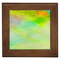 Abstract Yellow Green Oil Framed Tiles