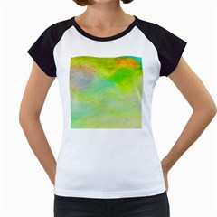 Abstract Yellow Green Oil Women s Cap Sleeve T