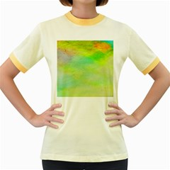 Abstract Yellow Green Oil Women s Fitted Ringer T-Shirts