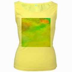 Abstract Yellow Green Oil Women s Yellow Tank Top