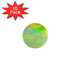Abstract Yellow Green Oil 1  Mini Magnet (10 Pack)