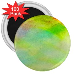 Abstract Yellow Green Oil 3  Magnets (100 Pack)