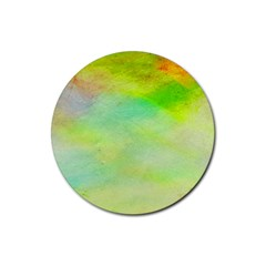 Abstract Yellow Green Oil Rubber Coaster (round)