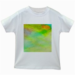 Abstract Yellow Green Oil Kids White T Shirts