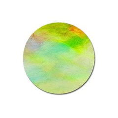Abstract Yellow Green Oil Magnet 3  (Round)