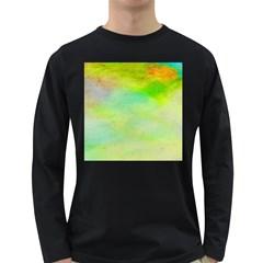 Abstract Yellow Green Oil Long Sleeve Dark T-Shirts