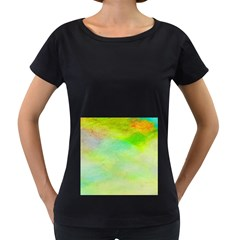 Abstract Yellow Green Oil Women s Loose-Fit T-Shirt (Black)