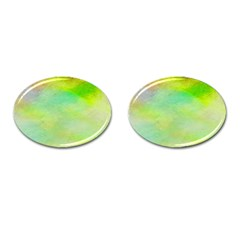 Abstract Yellow Green Oil Cufflinks (oval)