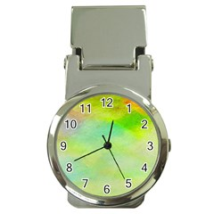 Abstract Yellow Green Oil Money Clip Watches