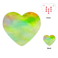 Abstract Yellow Green Oil Playing Cards (heart)