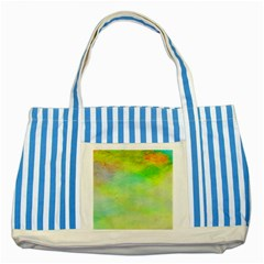 Abstract Yellow Green Oil Striped Blue Tote Bag