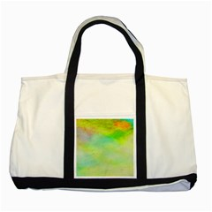 Abstract Yellow Green Oil Two Tone Tote Bag