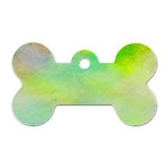 Abstract Yellow Green Oil Dog Tag Bone (Two Sides)