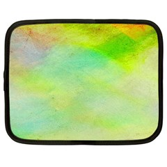 Abstract Yellow Green Oil Netbook Case (Large)