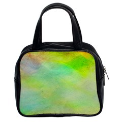 Abstract Yellow Green Oil Classic Handbags (2 Sides)