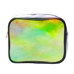 Abstract Yellow Green Oil Mini Toiletries Bags