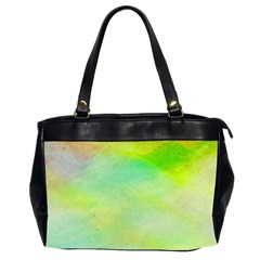 Abstract Yellow Green Oil Office Handbags (2 Sides)