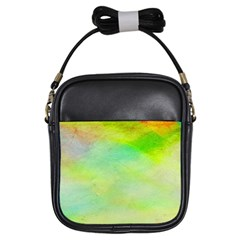 Abstract Yellow Green Oil Girls Sling Bags